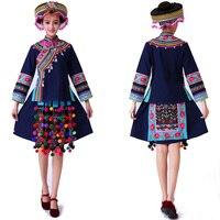 Новый хмонг Мяо одежда женские Сценические костюмы для певцов национальный фестиваль сценический костюм Китайская народная Танцевальный