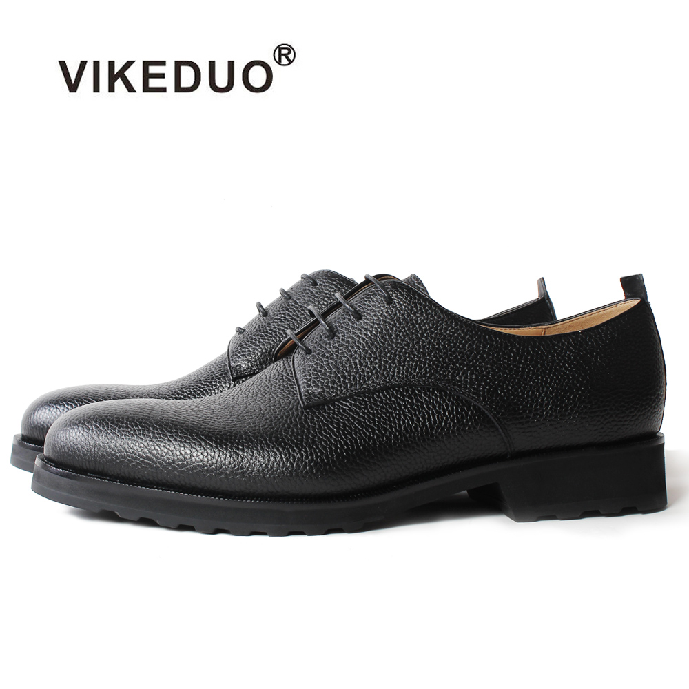 Vikeduo Handmade Black Classic Luxury Wedding Party Lace-up Dress shoes male shoe Genuine Leather shoe Mens Derby Dress Shoes new arrival mens fashion wedding party dress genuine leather derby shoes breathable lace up oxfords shoe crocodile pattern male