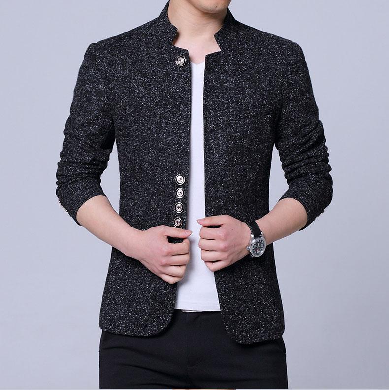 Blazer Men Jackets Male Stand Collar Man Blazers Slim Fit Mens Blazer Multi-Grain Buckle Jacket Clothes Single West Suit Coat