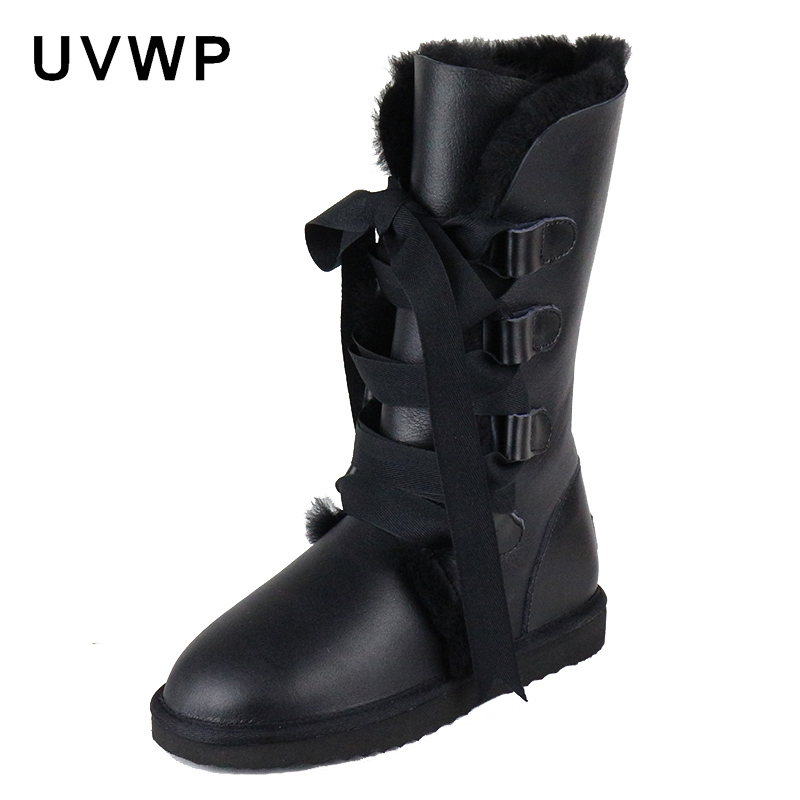 2019 Fashion Botas Mujer Genuine Sheepskin Leather Women s Snow Boots 100 Natural Fur Winter Boots