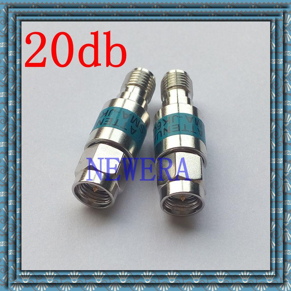 Ternary alloy 2W SMA male to SMA  female Coaxial RF Attenuator DC to 6.0GHz 50ohm 20db r404n01121 rf terminators term sma m 18 ghz 2w w cord mr li