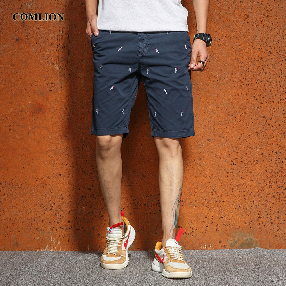 COMLION Army Cargo Shorts Military Men Cotton Casual Bird Pattern Short Trousers Homme Comfortable Shorts Summer Bermuda F18