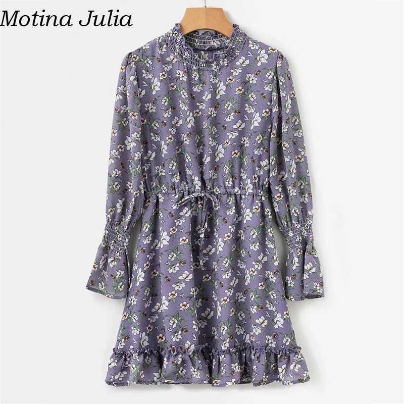 5fef90dc5aa93 ... Motina Julia Ruffle floral print short chiffon dress women Autumn  winter party casual smock dress vestidos