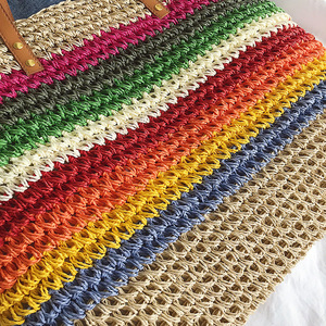 Image 5 - Women Rainbow color Handbag Beach Bag Rattan Woven Handmade Knitted Straw Large Capacity Tote Leather Women Shoulder Bag Bohemia