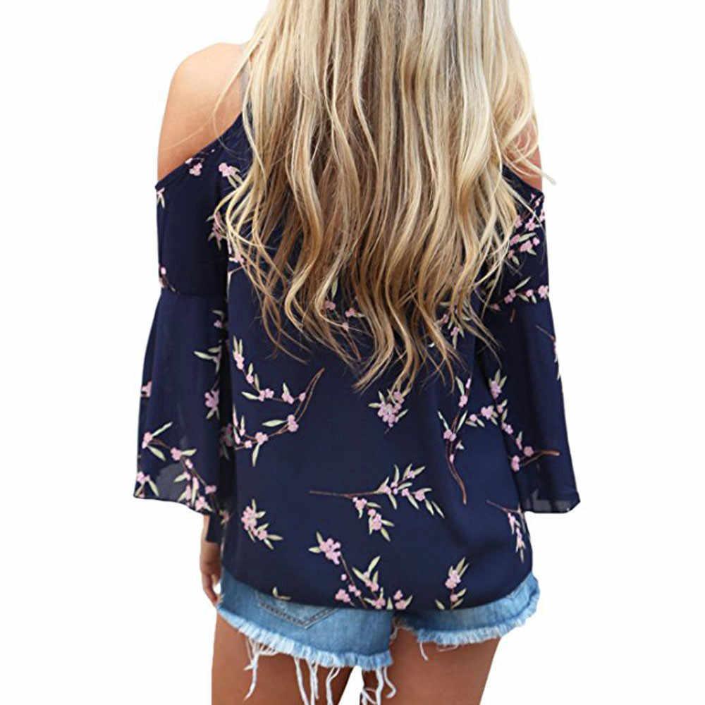 2019 אופנה נשים Boho תחרה עד פרחוני להדפיס את כתף גבירותיי Loose חולצה למעלה מקרית קצר שרוול חולצה קיץ נשי blusa