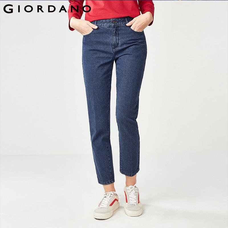 Giordano Women Denim   Jeans   Women Cotton Straight Ankle-length Denim   Jeans   100% Quality Cotton Zip Button Front Women   Jeans