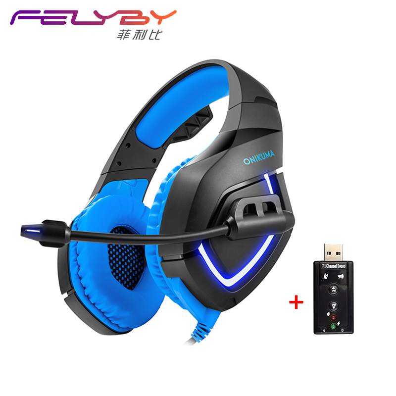 Dual 3.5 + USB Lamp K1B New 7.1 Surround Stereo Game Headset Bass Microphone Audio Adapter Sound Card Vibration For PS4