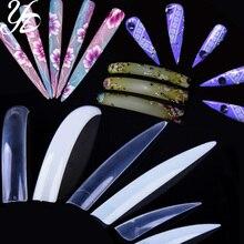 Yiday 30 шт длинные/короткие салонные накладные ногти прозрачные натуральные белые для 3D акриловый УФ гель для ногтей Акула сковальный Stitetto