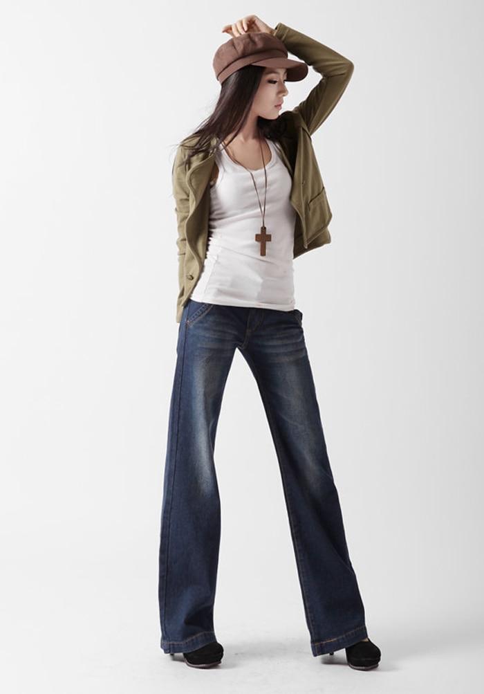 Высокое качество, акция, большие размеры, женские ботинки джинсы с вырезами для девочек, высокая талия, широкие брюки, джинсовые брюки-клеш, 27-34 - Цвет: denim blue