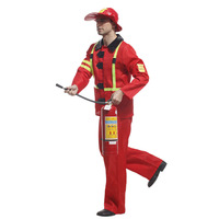 Adult Fireman Costume Halloween Cosplay Role Play Party Firefighter Performance Stage Suit Mens Fancy Costume