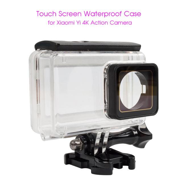 Nuevo caso impermeable de la pantalla táctil para xiaomi yi 2 ii 45 m acción de buzo xiaoyi caso para xiaomi yi 4 k protector de vivienda caso