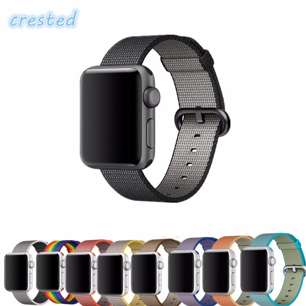 CRESTED Woven nylon strap watchband for apple watch band 38mm 42mm Bracelet Sports wrist men/women watch Accessories ремешок apple 42mm red woven nylon mpw72zm a