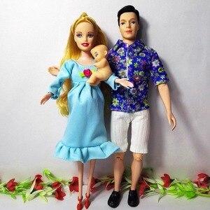 Image 3 - 女の子のおもちゃ家族6人人形スーツ1ママ/1お父さん/3リトルケリー/1の息子/1ベビーウォーカー/1ベビーカーのためのバービー