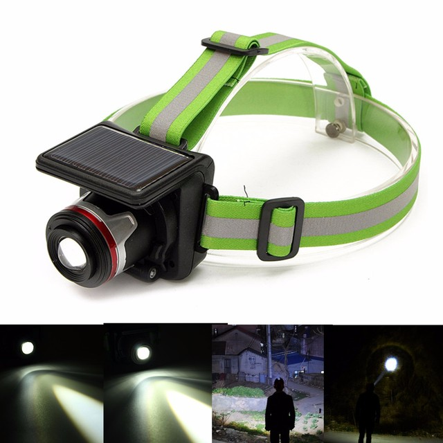 Solar Powered 5W XPE LED Headlamp Headlight Outdoor Waterproof Sport Zoomable Flashlight Head Light Lamp for Camping Hiking