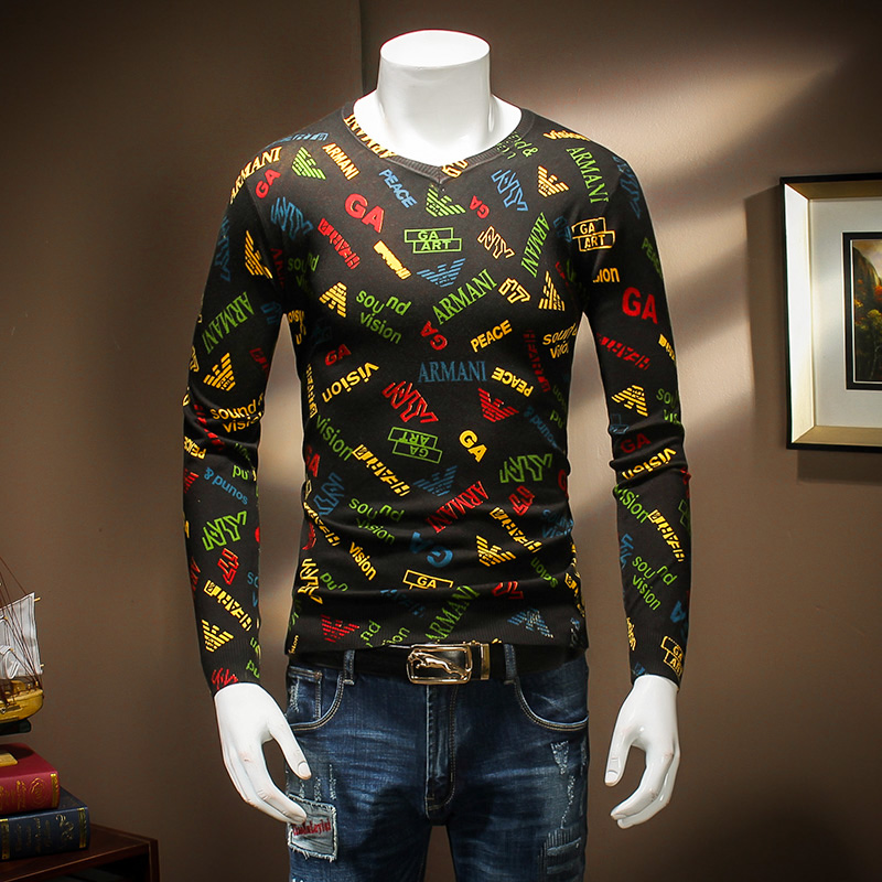 Autumn And Winter Fashion Male Quality Black Basic Thin Sweater Men Slim Casual Letter Printing Flower