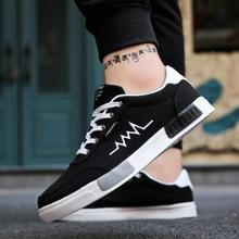 New 2019 Spring Summer Canvas Shoes Men Sneakers Low Top Bla
