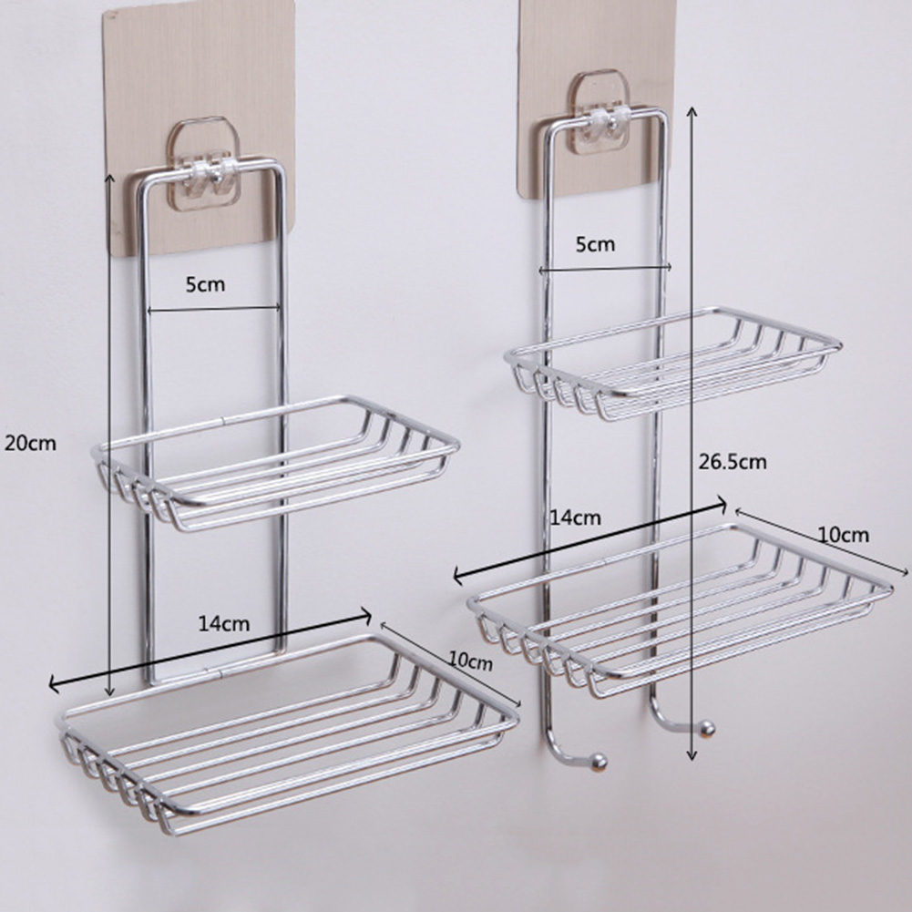 Adhesive Stainless Steel Soap Holder Wall-mounted Double Layers Storage Rack For Bathroom Kitchen 2019