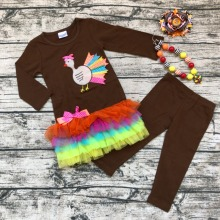 2019 new baby girls thanksgiving outfits baby kids boutique kids full sleeve thanksgiving turkey sets with matching necklace bow autumn thanksgiving fall winter baby girls brown orange turkey outfits polka dot pant clothes ruffle boutique match accessories