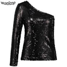 95ad1ede2547d3 Wanita Satu Bahu Payet Atasan Kemeja Hitam Lengan Panjang Miring Bahu Blus Top  Glitter Slim Clubwear Pesta Top