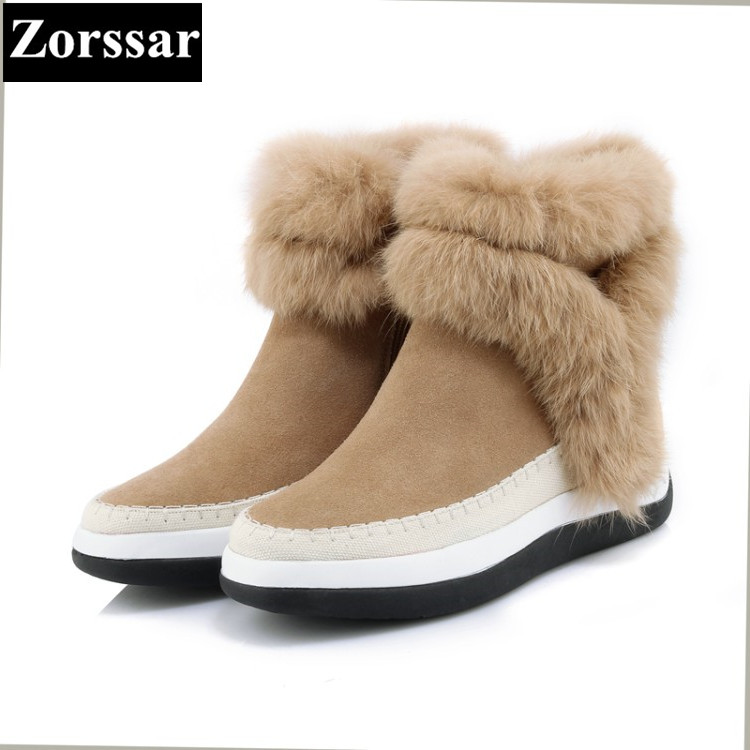 {Zorssar} 2017 NEW Classic winter Plush Women Boots Suede Ankle Snow Boots Female Warm Fur women shoes wedges platform shoes designer women winter ankle boots female fur lace up snow boots suede plush sewing botas