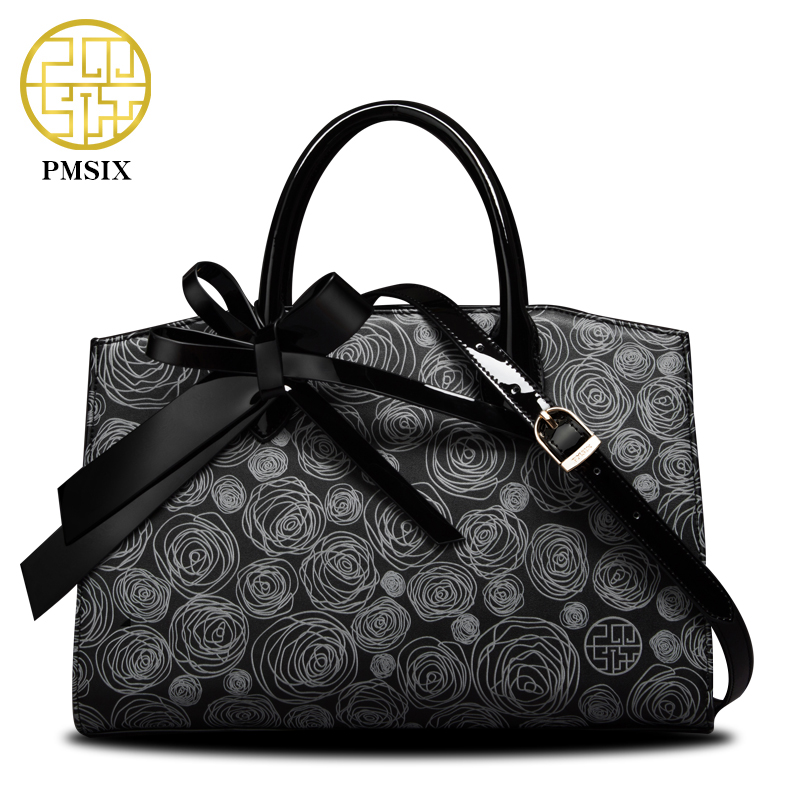 PMSIX 2017 New Women Leather Bag Cattle Split Leather Bow Floral Printing Retro