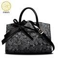 Pmsix 2017 mulheres novo saco de couro de gado dividir couro arco floral impressão retro tote bolsa feminina bolsa crossbody p120006