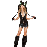Low Cut Front Lace Up ScallopTrim and Silver Collar Hood and Furry Legwarmers Animal Bat Costume Vampire Cosplay Costume L15141