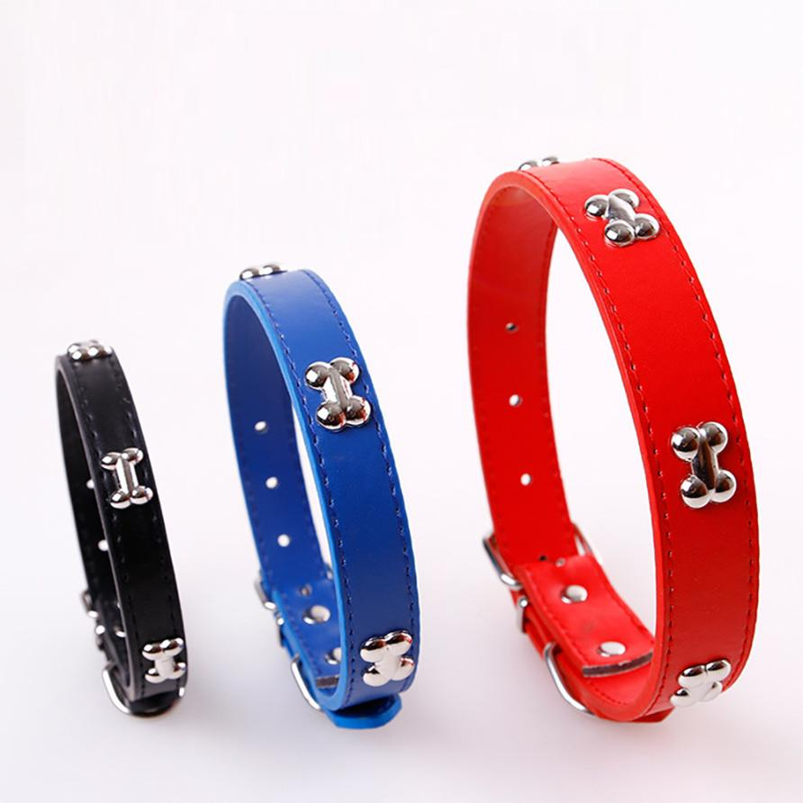 1Pc S M L Bone Puppy Adjustable Dog Collars With Bone Durable PU Leather 3 Color Available #