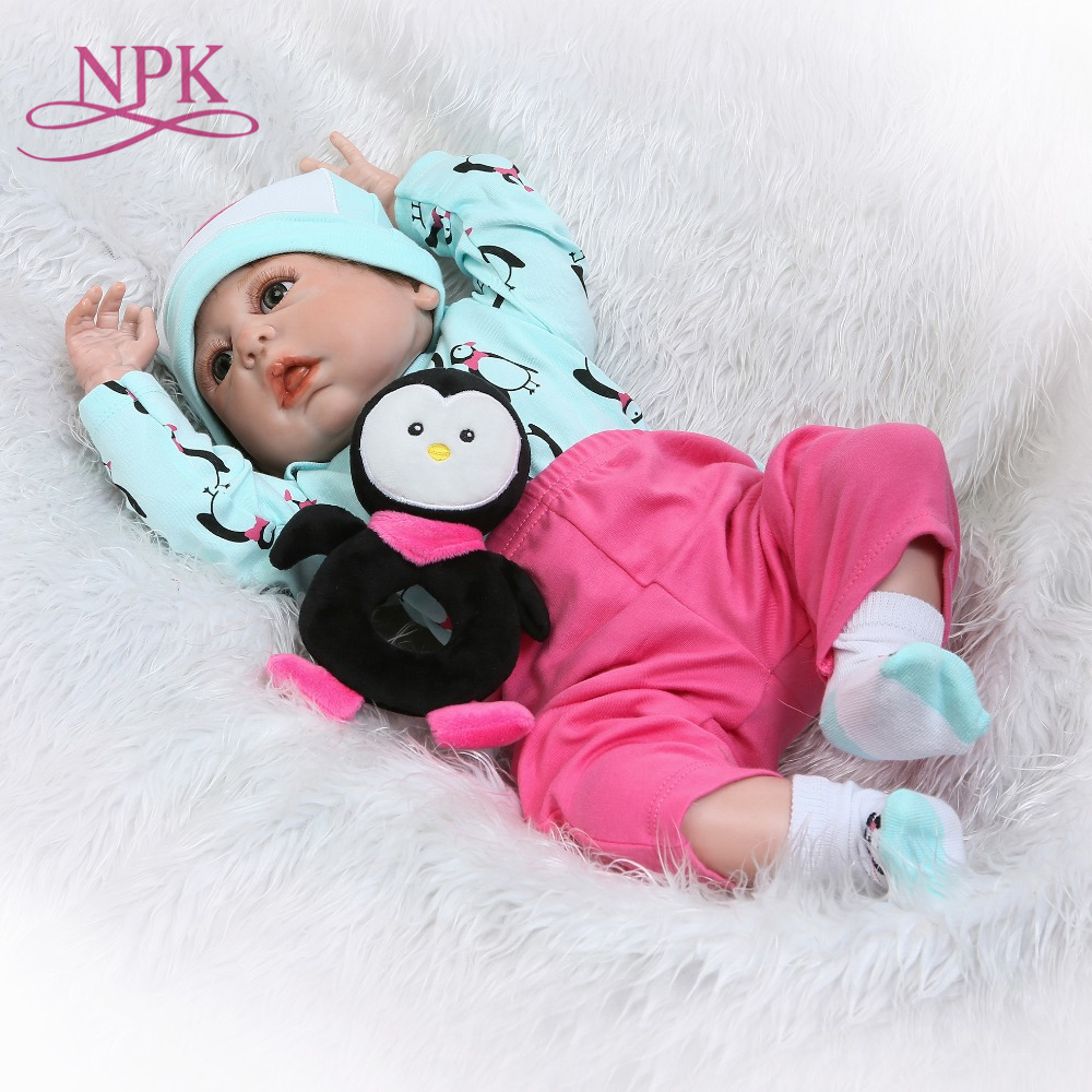 NPK Silicone Full Body Reborn Dolls 22 Realistic Handmade Baby Dolls Boy Kids Toy Waterproof Boneca