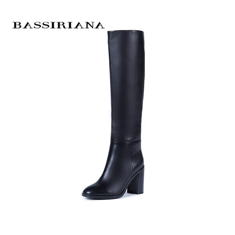 BASSIRIANA Novo 2017 couro genuíno botas de cano alto sapatos de inverno mulher sexy sapatos de salto alto rodada toe zip marrom preto 35-40 tamanho