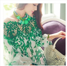 Large Size S ~Xxl Spring Vintage Ethnic Embroidery Long Sleeve Lace Blouses Splicing Green Chiffon Shirt Women Tops