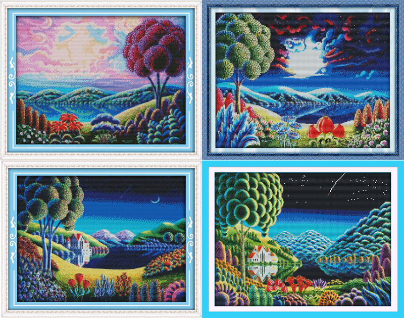 Joy Sunday Fantastic scenery cross stitch pattern kits handcraft make embroidery with chart