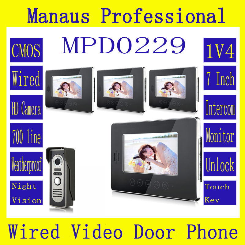Hot Sale Touch Key Smart Home Black 7 TFT LCD Screen Video Intercom Phone,One to Four Video Doorphone Kit Configuration D229a 7 inch video doorbell tft lcd hd screen wired video doorphone for villa one monitor with one metal outdoor unit night vision