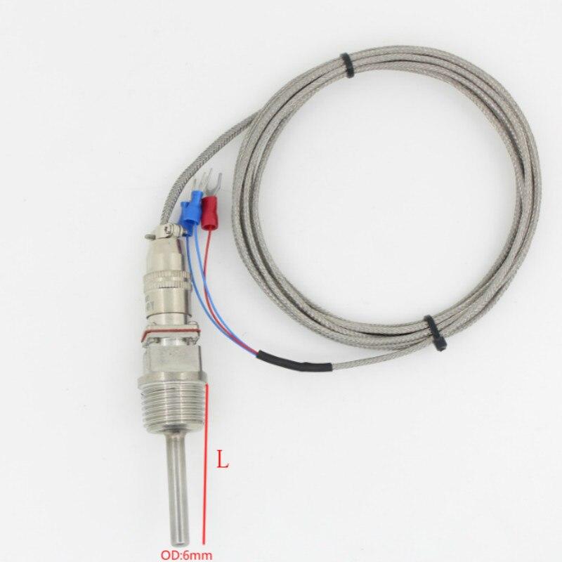 BSP 1/2 en acier Inoxydable-50 à 300 Degrés Température Transducteur Sonde PT100 Température Capteur Avec 2 m Câble fils L50-300mm
