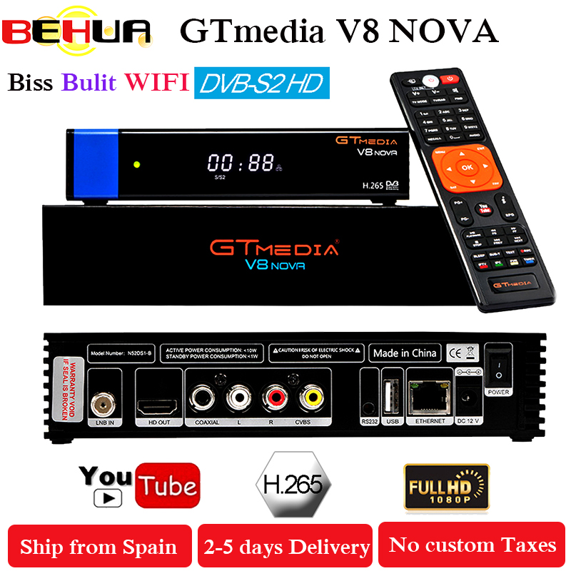 Gtmedia V8 NOVA Blue HD DVB-S2 satellite receiver Built-in WIFI support H.265 Decoder Clines set top TV box 10000 channels TV цены