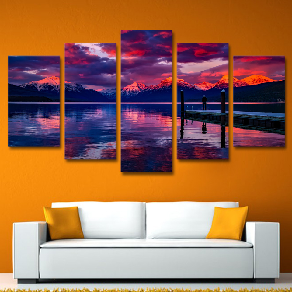 Modular Pictures Poster Wall Art Framework 5 Panel Lake Board Walk Canvas Painting Artwork For Living Kids Room Decorative