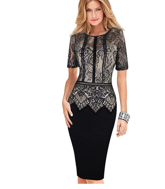 Womens Elegant Dress Special Occasion Vestidos Patchwork Lace Casual Party Sheath Fitted Bodycon Dress 386