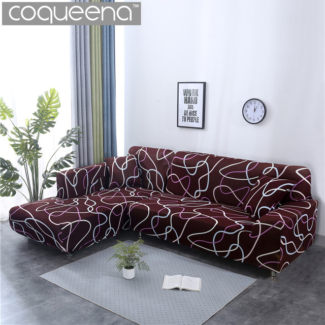 2 Pieces Covers For Corner Sofa Universal Stretch Elastic L Shaped Chaise Cover