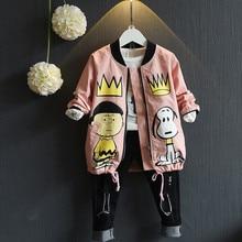 2016 Autumn Baby Girls&Boys Coat And Jackets Toddler Kids Outwear Cartoon Print Fleece Zipper Cardigan Children Jackets 2-7Y