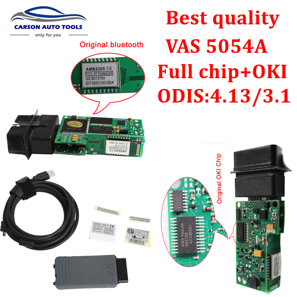 Best quality vas 5054a odis 4 13 with oki chip super diagnostic tool vas5054 bluetooth usb vas 5054a support vw series brands