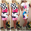 2016 New Sexy Women Fashion Cute Mouse Printed Bodycon Party Dress Women Summer Dress Vestidos Plus Size