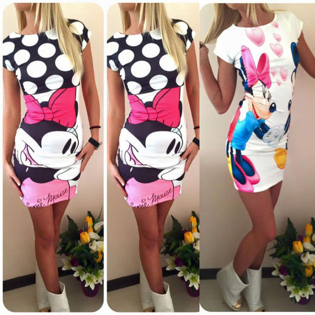 2016 nuove donne sexy di modo cute mouse stampato bodycon del partito dress donna summer dress vestidos più il formato