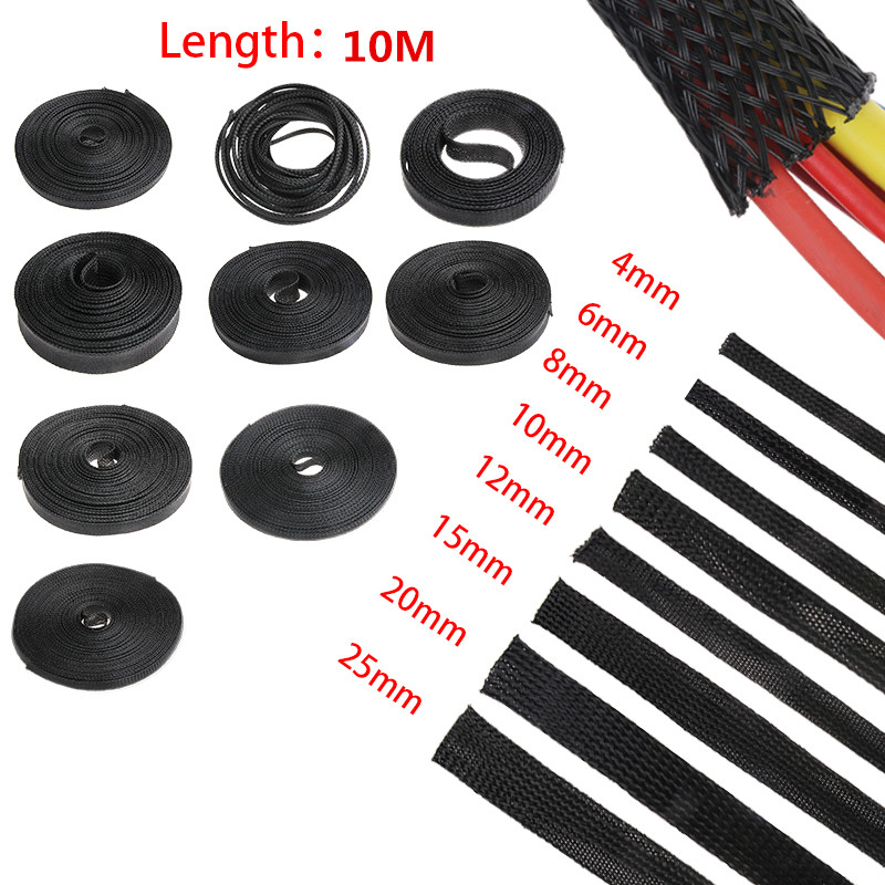 10M Black Insulation Braided Sleeving 4/6/8/10/12/15/20/25mm Tight PET Wire Cables Protection Expandable Cable Sleeve Wire Gland