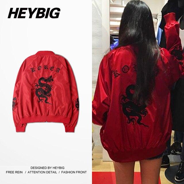 Retro Dragon Embroidery Jacket Korea fashion Icon Style HEYBIG 2016 newest Bomber Jackets Vintage Short Coat Asian Size!!