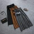 El otoño y el invierno nuevo de alta cintura de lana Una falda palabra La Sra. engrosamiento falda elástico de la cintura falda de lana falda plisada