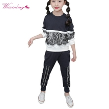 Winter Girls Clothing Sets New Active Girls Clothing Sets Children Clothing Cartoon Print Sweatshirts+Pants Suit children embroidery clothing winter girls vest hoodies pants thick warm outfit girls clothes suit 3pcs girls clothing sets ca454