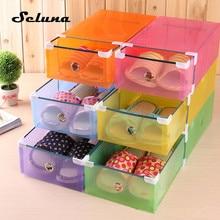 4 piezas de calzado organizador de almacenamiento transparente de plástico apilable cajas de zapatos caja de almacenamiento de contenedores oficina plegable cajón claro