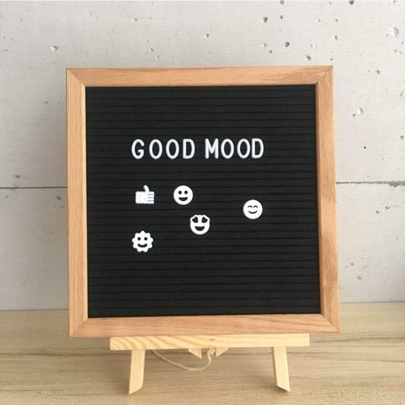 Felt Letter Message Board Oak Frame White Letters Symbols Numbers Characters Bag Black Grey купить в Москве 2019