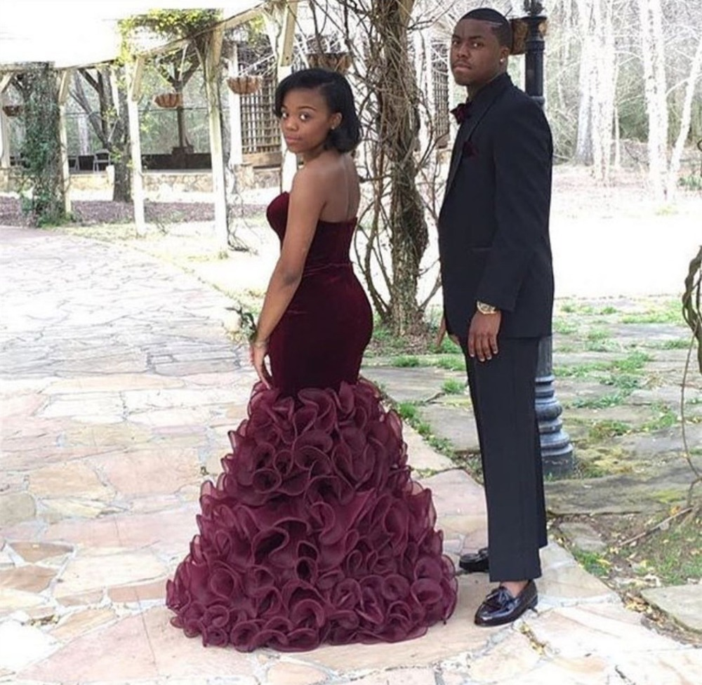 New Arrival African Velvet Burgundy Long Mermaid   Prom     Dresses   2016 hot Organza RufflesEvening Party   Dress   For Graduation ZL5489