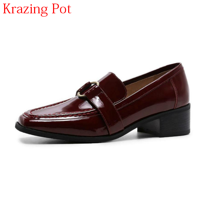 2018 New Arrival Shoes Woman Shallow Med Heels Genuine Leather Round Metal Buckle Slip on Women Pumps Elegant Causal Shoes L18
